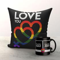 Kit Almofada e Caneca Namorada Gay pride com foto - Fastvenda