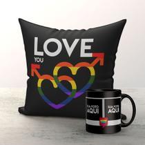 Kit Almofada e Caneca Namorado Gay Pride com foto - Fastvenda