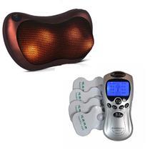 Kit Almofada Massageadora Shiatsu + Aparelho Fisioterapia 4 Eletrodos Bivolt - Compre na net