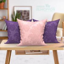 Kit Almofada para Sofá 45cm x 45cm Rosa e Rosê Lisa com Refil 3 Unidades - Moda Casa Enxovais