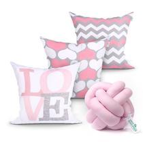 Kit Almofada Rosa Estampada Love para Quarto / Sala 3 Unidades 45cm x 45cm com Refil de Silicone + Almofada Nó Escandinavo - Moda Casa Enxovais