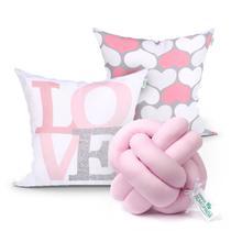 Kit Almofada rosa para Quarto Infantil 2 Unidades 45cm x 45cm com Refil de Silicone + Almofada Nó Escandinavo - Moda Casa Enxovais