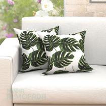 Kit Almofadas Decorativas Para Sala Folhas Tropical Verde 45cm x 45cm 2 Unidades Com Refil - Moda Casa Enxovais