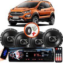 "Kit Alto Falante Pioneer Ford Ecosport Nova Ts-1790br 6x6"" 240W RMS 4 Ohms Triaxial Bobina Simples Preto + Rádio Com Bluetooth - Kit Delparts"