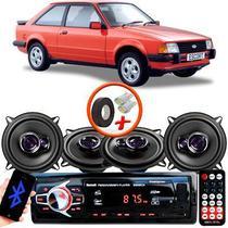 "Kit Alto Falante Pioneer Ford Escort Ts-1360br 5x5"" 200W RMS 4 Ohms Triaxial Bobina Simples Preto Roxo + Rádio Com Bluetooth - Kit Delparts"