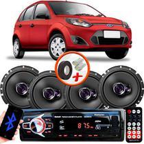 "Kit Alto Falante Pioneer Ford Fiesta Hatch Ts-1760br 6x6"" 200W RMS 4 Ohms Triaxial Bobina Simples  + Rádio Com Bluetooth - Kit Delparts"