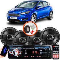 "Kit Alto Falante Pioneer Ford Focus Hatch Ts-1790br 6x6"" 240W RMS 4 Ohms Triaxial Bobina Simples Preto + Rádio Com Bluetooth - Kit Delparts"