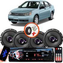 "Kit Alto Falante Pioneer Ford Focus Sedan Ts-1760br 6x6"" 200W RMS 4 Ohms Triaxial Bobina Simples  + Rádio Com Bluetooth - Kit Delparts"