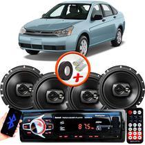 "Kit Alto Falante Pioneer Ford Focus Sedan Ts-1790br 6x6"" 240W RMS 4 Ohms Triaxial Bobina Simples Preto + Rádio Com Bluetooth - Kit Delparts"