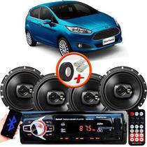 "Kit Alto Falante Pioneer Ford New Fiesta Hatch Ts-1790br 6x6"" 240W RMS 4 Ohms Triaxial Bobina Simples Preto + Rádio Com Bluetooth - Kit Delparts"