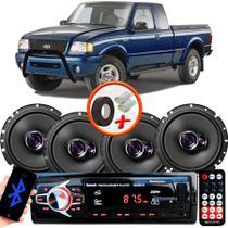 "Kit Alto Falante Pioneer Ford Ranger Ts-1760br 6x6"" 200W RMS 4 Ohms Triaxial Bobina Simples  + Rádio Com Bluetooth - Kit Delparts"