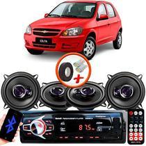 "Kit Alto Falante Pioneer GM Celta Ts-1360br 5x5"" 200W RMS 4 Ohms Triaxial Bobina Simples Preto Roxo + Rádio Com Bluetooth - Kit Delparts"