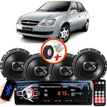 "Kit Alto Falante Pioneer GM Corsa Classic Ts-1790br 6x6"" 240W RMS 4 Ohms Triaxial Bobina Simples Preto + Rádio Com Bluetooth - Kit Delparts"