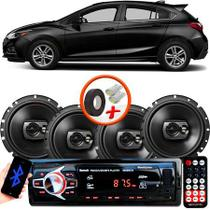 "Kit Alto Falante Pioneer GM Cruze Hatch Ts-1790br 6x6"" 240W RMS 4 Ohms Triaxial Bobina Simples Preto + Rádio Com Bluetooth - Kit Delparts"