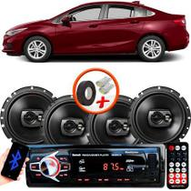 "Kit Alto Falante Pioneer GM Cruze Sedan Ts-1790br 6x6"" 240W RMS 4 Ohms Triaxial Bobina Simples Preto + Rádio Com Bluetooth - Kit Delparts"