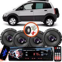 "Kit Alto Falante Pioneer GM Idea Adventure Ts-1760br 6x6"" 200W RMS 4 Ohms Triaxial Bobina Simples  + Rádio Com Bluetooth - Kit Delparts"