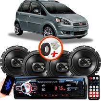 "Kit Alto Falante Pioneer GM Idea Ts-1790br 6x6"" 240W RMS 4 Ohms Triaxial Bobina Simples Preto + Rádio Com Bluetooth - Kit Delparts"