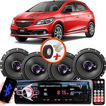 "Kit Alto Falante Pioneer GM Onix Ts-1760br 6x6"" 200W RMS 4 Ohms Triaxial Bobina Simples  + Rádio Com Bluetooth - Kit Delparts"
