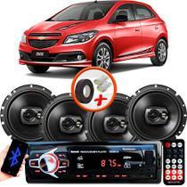 "Kit Alto Falante Pioneer GM Onix Ts-1790br 6x6"" 240W RMS 4 Ohms Triaxial Bobina Simples Preto + Rádio Com Bluetooth - Kit Delparts"