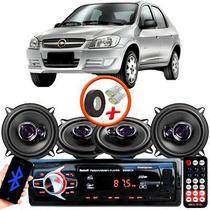 "Kit Alto Falante Pioneer GM Prisma Ts-1360br 5x5"" 200W RMS 4 Ohms Triaxial Bobina Simples Preto Roxo + Rádio Com Bluetooth - Kit Delparts"