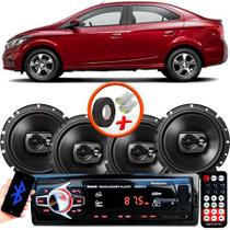 "Kit Alto Falante Pioneer GM Prisma Ts-1790br 6x6"" 240W RMS 4 Ohms Triaxial Bobina Simples Preto + Rádio Com Bluetooth - Kit Delparts"
