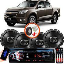 "Kit Alto Falante Pioneer GM S10 Ts-1790br 6x6"" 240W RMS 4 Ohms Triaxial Bobina Simples Preto + Rádio Com Bluetooth - Kit Delparts"