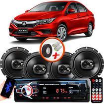 "Kit Alto Falante Pioneer Honda City Ts-1790br 6x6"" 240W RMS 4 Ohms Triaxial Bobina Simples Preto + Rádio Com Bluetooth - Kit Delparts"