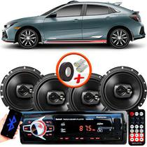 "Kit Alto Falante Pioneer Honda Civic Ts-1790br 6x6"" 240W RMS 4 Ohms Triaxial Bobina Simples Preto + Rádio Com Bluetooth - Kit Delparts"
