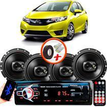 "Kit Alto Falante Pioneer Honda Fit Ts-1790br 6x6"" 240W RMS 4 Ohms Triaxial Bobina Simples Preto + Rádio Com Bluetooth - Kit Delparts"