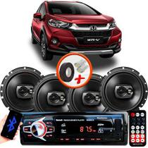 "Kit Alto Falante Pioneer Honda WRV Ts-1790br 6x6"" 240W RMS 4 Ohms Triaxial Bobina Simples Preto + Rádio Com Bluetooth - Kit Delparts"