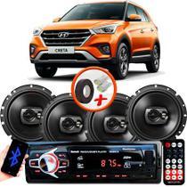 "Kit Alto Falante Pioneer Hyundai Creta Ts-1790br 6x6"" 240W RMS 4 Ohms Triaxial Bobina Simples Preto + Rádio Com Bluetooth - Kit Delparts"