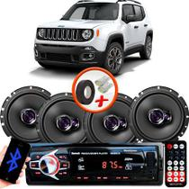 "Kit Alto Falante Pioneer Jeep Renegade Ts-1760br 6x6"" 200W RMS 4 Ohms Triaxial Bobina Simples  + Rádio Com Bluetooth - Kit Delparts"