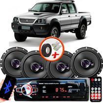"Kit Alto Falante Pioneer Mitsubishi L200 GLS Ts-1760br 6x6"" 200W RMS 4 Ohms Triaxial Bobina Simples  + Rádio Com Bluetooth - Kit Delparts"