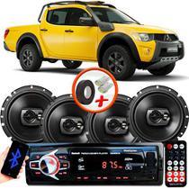 "Kit Alto Falante Pioneer Mitsubishi L200 Savana Ts-1790br 6x6"" 240W RMS 4 Ohms Triaxial Bobina Simples Preto + Rádio Com Bluetooth - Kit Delparts"