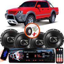 "Kit Alto Falante Pioneer Mitsubishi L200 Sport Ts-1790br 6x6"" 240W RMS 4 Ohms Triaxial Bobina Simples Preto + Rádio Com Bluetooth - Kit Delparts"