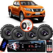 "Kit Alto Falante Pioneer Nissan Frontier Ts-1760br 6x6"" 200W RMS 4 Ohms Triaxial Bobina Simples  + Rádio Com Bluetooth - Kit Delparts"