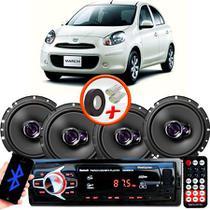 "Kit Alto Falante Pioneer Nissan March Ts-1760br 6x6"" 200W RMS 4 Ohms Triaxial Bobina Simples  + Rádio Com Bluetooth - Kit Delparts"