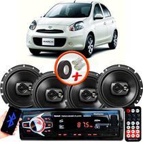 "Kit Alto Falante Pioneer Nissan March Ts-1790br 6x6"" 240W RMS 4 Ohms Triaxial Bobina Simples Preto + Rádio Com Bluetooth - Kit Delparts"