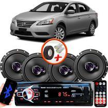 "Kit Alto Falante Pioneer Nissan Sentra Ts-1760br 6x6"" 200W RMS 4 Ohms Triaxial Bobina Simples  + Rádio Com Bluetooth - Kit Delparts"