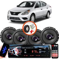 "Kit Alto Falante Pioneer Nissan Versa Ts-1760br 6x6"" 200W RMS 4 Ohms Triaxial Bobina Simples  + Rádio Com Bluetooth - Kit Delparts"