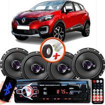 "Kit Alto Falante Pioneer Renault Captur Ts-1760br 6x6"" 200W RMS 4 Ohms Triaxial Bobina Simples  + Rádio Com Bluetooth - Kit Delparts"