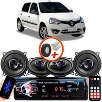 "Kit Alto Falante Pioneer Renault Clio Hatch Ts-1360br 5x5"" 200W RMS 4 Ohms Triaxial Bobina Simples Preto Roxo + Rádio Com Bluetooth - Kit Delparts"
