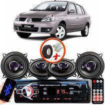 "Kit Alto Falante Pioneer Renault Clio Sedan Ts-1360br 5x5"" 200W RMS 4 Ohms Triaxial Bobina Simples Preto Roxo + Rádio Com Bluetooth - Kit Delparts"