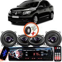 "Kit Alto Falante Pioneer Renault Logan Ts-1360br 5x5"" 200W RMS 4 Ohms Triaxial Bobina Simples Preto Roxo + Rádio Com Bluetooth - Kit Delparts"