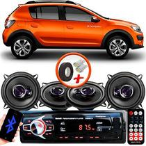"Kit Alto Falante Pioneer Renault Sandero Stepway Ts-1360br 5x5"" 200W RMS 4 Ohms Triaxial Bobina Simples Preto Roxo + Rádio Com Bluetooth - Kit Delparts"