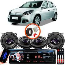 "Kit Alto Falante Pioneer Renault Sandero Ts-1360br 5x5"" 200W RMS 4 Ohms Triaxial Bobina Simples Preto Roxo + Rádio Com Bluetooth - Kit Delparts"