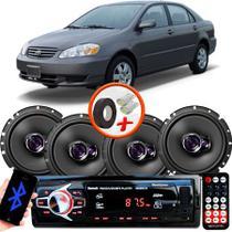 "Kit Alto Falante Pioneer Toyota Corolla Ts-1760br 6x6"" 200W RMS 4 Ohms Triaxial Bobina Simples  + Rádio Com Bluetooth - Kit Delparts"