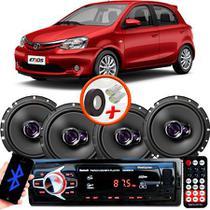 "Kit Alto Falante Pioneer Toyota Etios Hatch Ts-1760br 6x6"" 200W RMS 4 Ohms Triaxial Bobina Simples  + Rádio Com Bluetooth - Kit Delparts"