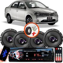 "Kit Alto Falante Pioneer Toyota Etios Sedan Ts-1760br 6x6"" 200W RMS 4 Ohms Triaxial Bobina Simples  + Rádio Com Bluetooth - Kit Delparts"