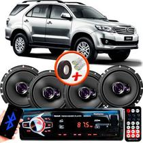 "Kit Alto Falante Pioneer Toyota Hillux SW4 Ts-1760br 6x6"" 200W RMS 4 Ohms Triaxial Bobina Simples  + Rádio Com Bluetooth - Kit Delparts"